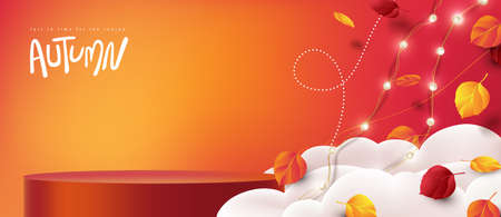 Autumn sale banner with product display cylindrical shape decorate Variety of autumn leaves falling in sky with clouds Stock Illustratie