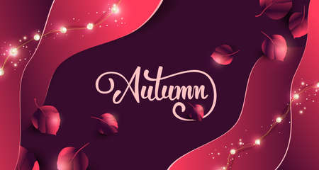 Autumn banner background with Variety of autumn leaves falling and led string lights Stock Illustratie