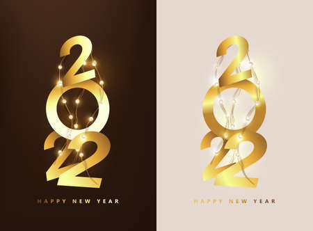 Happy New Year 2022 Number golden Text Design  and led string lights Stock Illustratie