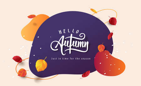 Autumn banner background layout decorate with autumn leaves and abstract background