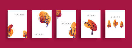 Autumn poster banner collection of trees in line art drawing with abstract shape