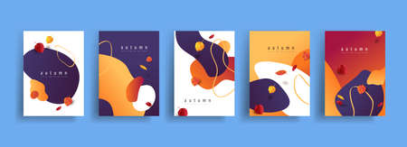 Autumn poster banner collection in line art drawing with abstract shape background