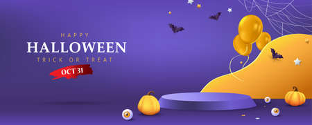 Halloween background design with product display cylindrical shape and Festive Elements Halloween