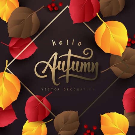 Autumn banner background layout decorate with autumn leaves