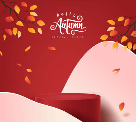 Autumn banner background with  product display cylindrical shape decorate autumn trees landscape