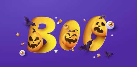 Halloween banner design with paper cut boo typography and pumpkins Festive Elements Halloween
