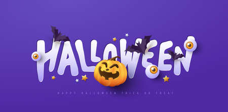 Halloween banner design with paper cut typography and pumpkins Festive Elements Halloween 向量圖像
