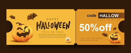 Halloween Gift promotion Coupon banner or party invitation background with pumpkin funny faces 向量圖像