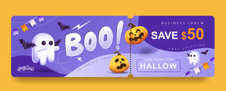 Halloween Gift promotion Coupon banner or party invitation background with cute ghost and pumpkin funny faces 向量圖像