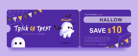 Halloween Gift promotion Coupon banner or party invitation background with cute ghost 向量圖像