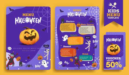 Halloween kids menu template design with Cute cartoon halloween characters