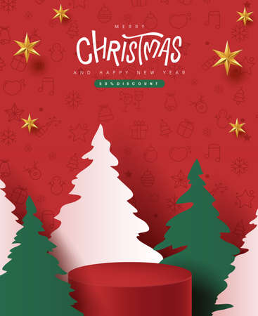 Merry Christmas banner with product display cylindrical shape and christmas tree paper cut style 向量圖像