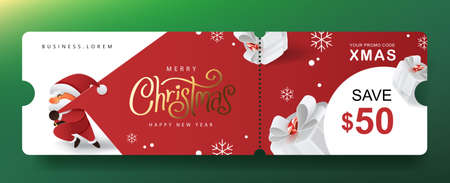Merry Christmas Gift promotion Coupon banner with cute Santa Claus and festive decoration for christmas 向量圖像