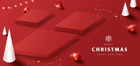 Merry Christmas banner with product display square shape and festive decoration for christmas
