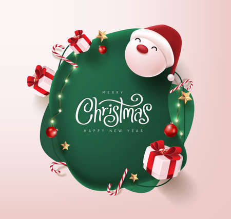 Merry Christmas and happy new year banner with cute santa claus and festive decoration for christmas Stock Illustratie