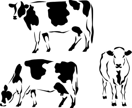 dairy: Логотип стиле молочных коров
