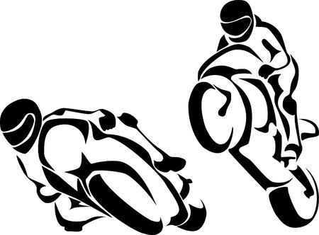 motor race: motorrijder logo Stock Illustratie