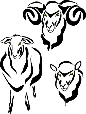 rams horns: sheep logo Illustration