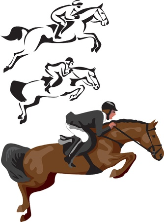 horse show: horse show jumping Illustration