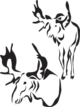 alces: logotipo de alces Vectores