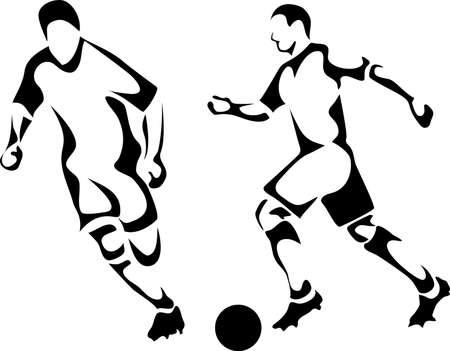 jugadores de soccer: los jugadores de f�tbol Vectores