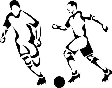 soccer kick: soccer players Illustration