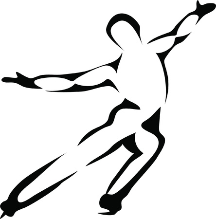 figure skate: ice skater Illustration