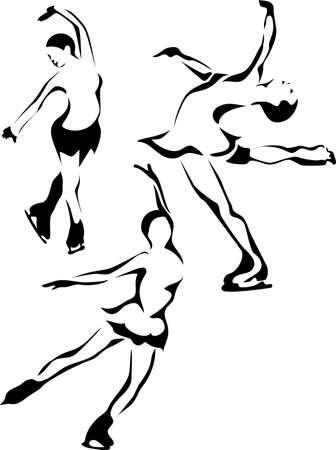silhouette femme: Mesdames patineur sur glace