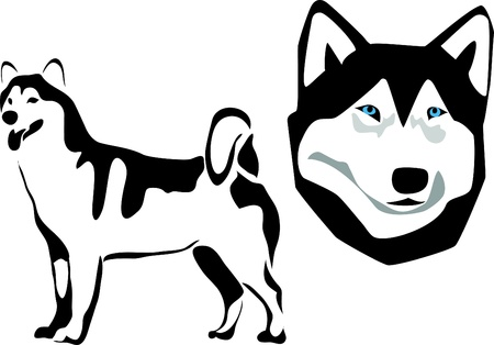 snow sled: malamute logo Illustration