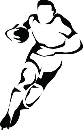 pelota de rugby: logotipo de jugador de rugby