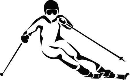 mountain skier: alpine skiing logo