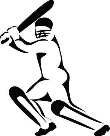 cricket player logo Vector