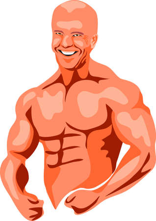 biceps: bald-headed bodybuilder Illustration