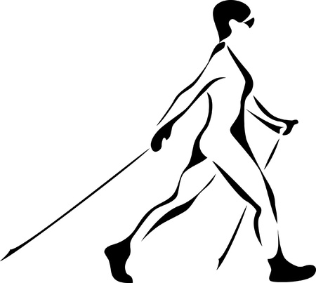nordic walking: woman nordic walking Illustration