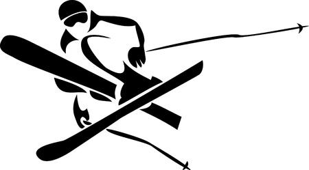 freeride: esquiador freeride Vectores