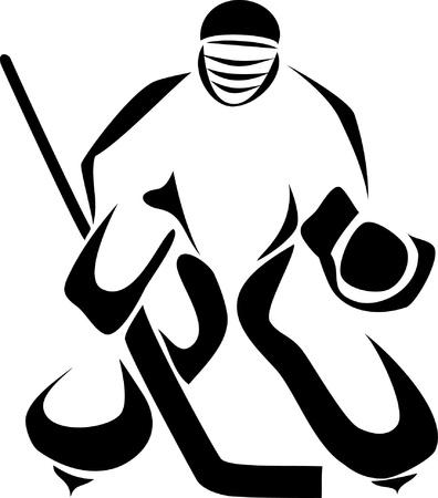 hockey goalie: ice hockey keeper Illustration