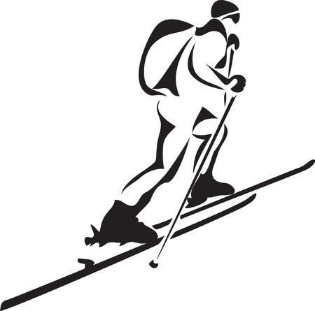 스키 타는 사람: 스키 투어 일러스트