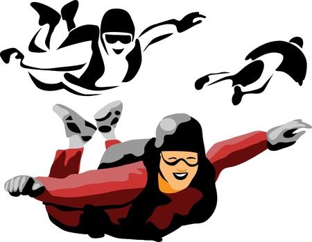 fallschirm: Fallschirmspringer Illustration