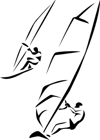 sailboard: windsurfing Illustration
