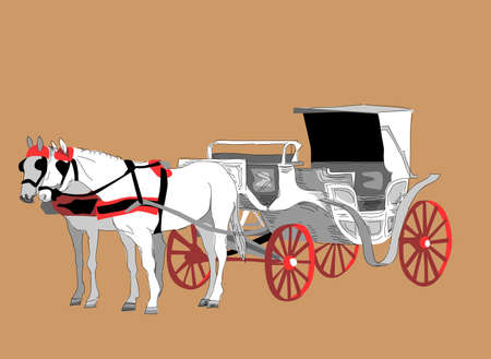 white horse carriage Stock Vector - 10833632