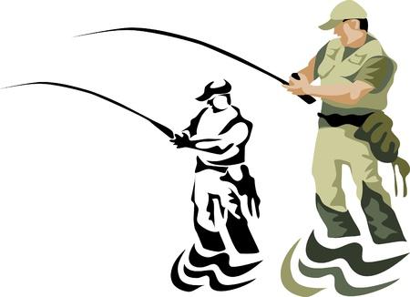 truchas: pesca con mosca Vectores