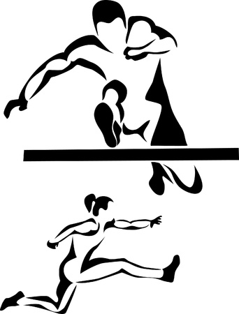 track and field: hurdler logo