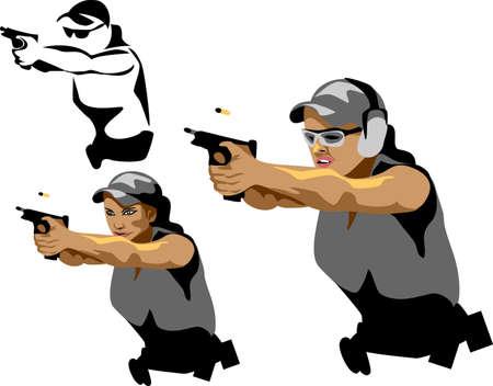 guardaespaldas: mujer con arma de fuego Vectores