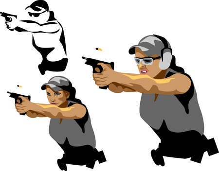 woman with handgun Vector
