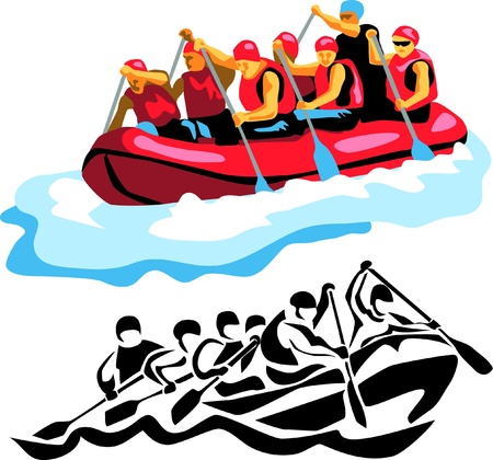 rapid: river rafting Illustration