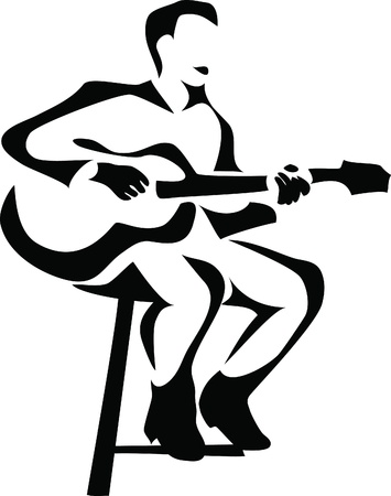 guitarist: guitar player Illustration