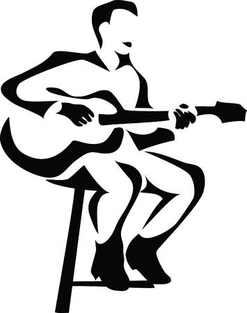 guitariste: joueur de guitare Illustration