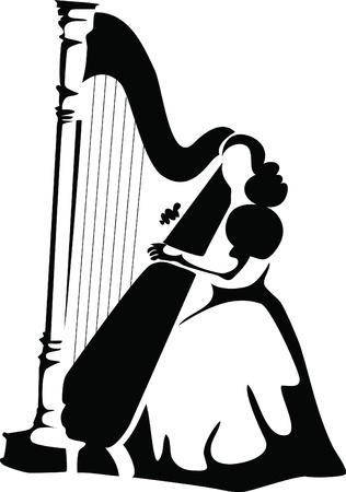 harp: harpist Illustration