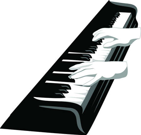 hands on keyboard: piano keyboard with hands