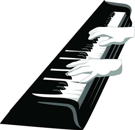 pianista: teclado del piano con las manos